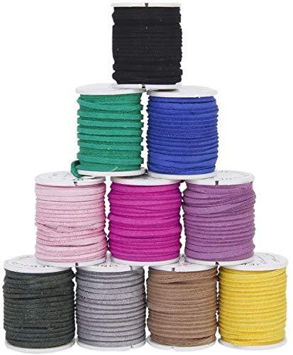TXXM Hilo de terciopelo para hacer collares y pulseras, colores mezclados al azar, 3 mm