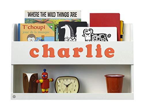 Tidy Books ® - Hochbett Regal Bunk Bed Buddy™ | Weiß | Personalisiert mit Holzbuchstaben | Wandregal Kinderbett Holz | 33 x 53 x 12 cm | Handgefertigt | Nachhaltig | Das Original seit 2004