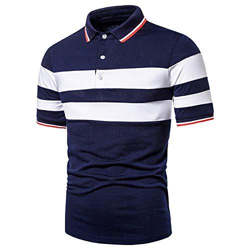Herren Kurzarm Poloshirt,Golf Tennis Herren T-Shirt, Oberteil Für Männer, Herrenshirt Lässiger Klassiker Bequem Atmungsaktiv,Basic Weiß Breite Streifen Kontrast, M