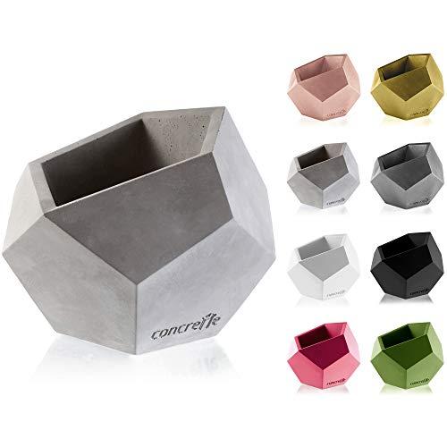 CONCRETTE Macetero de Cemento, Maceta de hormigón Cuadrado geométrico, diámetro de 9 cm,...