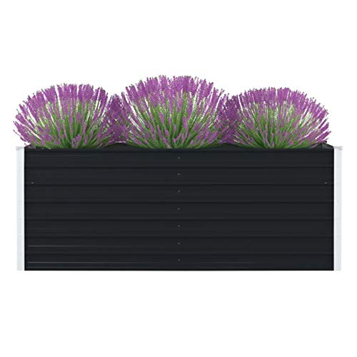 UBaymax Hochbeet Verzinkter Stahl Gartenbeet Pflanzbeet Frühbeet, Garten Blumenkasten Pflanzkasten Terrassen, 160 x 80 x 45 cm, Anthrazit
