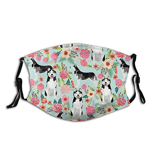 Mascarilla facial para perros con diseño floral, reutilizable, lavable, con trabillas ajustables para las orejas, bufandas de moda para adultos con 2 filtros, HuskyFloralsDog-1 unidad