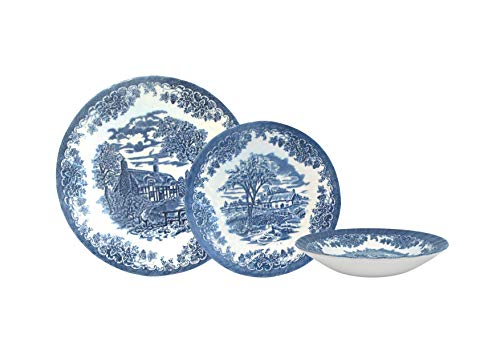 Churchill Brook Blue Chelsea 18 Piece Dinnerware Set, Made In England