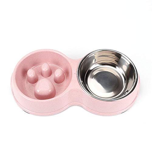 Tineer Cuenco Lento del alimentador del Perro casero Doble, alimento del Perrito de la Anti-obstrucción del Acero Inoxidable y alimentador del Agua para los Gatos del Perro (Rosada)
