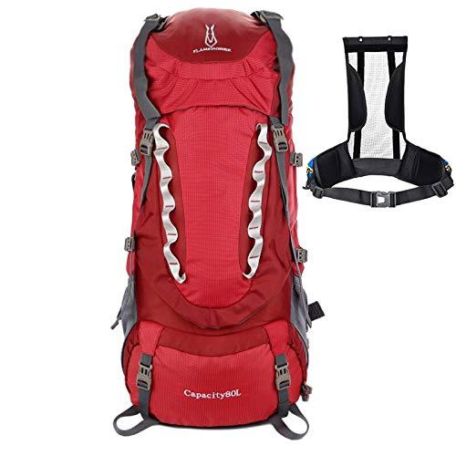 XIAOSHAN 80L al aire libre montañismo bolsa impermeable nylon mochila de gran capacidad mochila de viaje desmontable soporte rojo