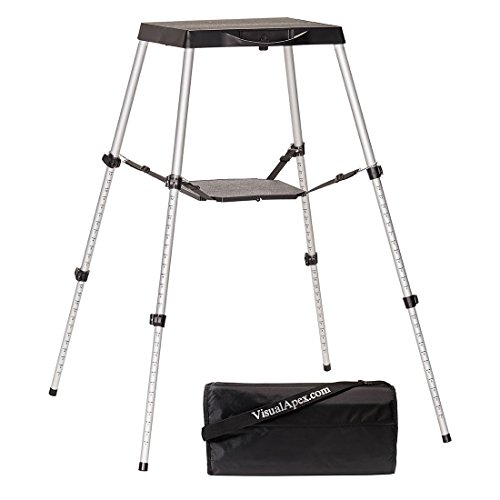 "Visual Apex Portable Projector Table Stand with Shelf & Projector Carry Bag, Adjustable 18.5"" to 44"" high"