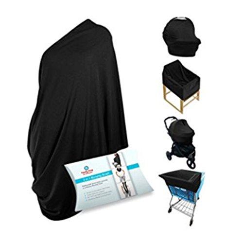 Nouvelles couvertures d'allaitement Coton Noir Housse de siège auto pour bébé Maman extensible Coque allaitement Écharpe Chiffon de couverture