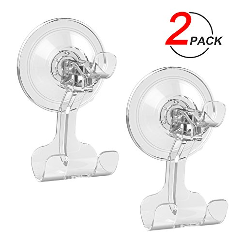 Suction Cup Hook LUXEAR Removable Hook Razor Holder for Shower Suction Hooks for Bathroom Livingroom Kitchen,Towel Hooks No Scratch Waterproof Oilproof Kitchen Wall Hanger (2 pcs Transparent)