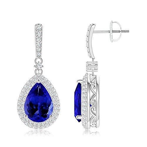 Tansanit Drop Ohrringe mit Diamant Doppel Halo in 18K Weiß Gold (10x 7mm Tansanit)