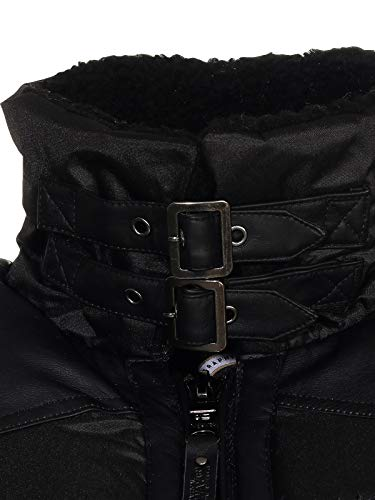 Geographical Norway Men's Winter Jacket Corvette Quilted Jacket with Fleece Collar - Black - M