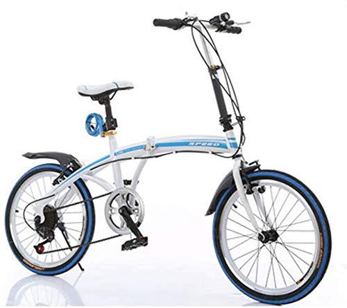 COUYY Bicicletas 20 Pulgadas Bicicleta Plegable Cambio de Velocidad Regalo Regalo Adulto de Coches de Bicicletas Plegables,Azul