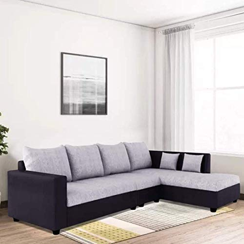 Furny Clarice 6 Seater RHS L Shape Sofa Set with Polyester Fabric & Premium Leatherette (Grey - Black)|3 Years Warranty with 36 Density Foam