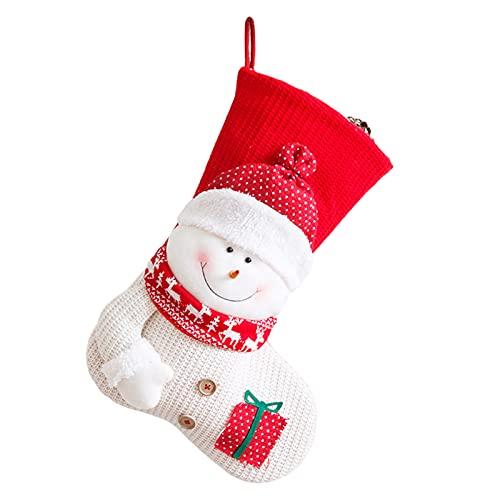 Calcetines navideos de una pieza, calcetines navideos de punto rojo y blanco, bolsa de regalo para disfraz de mueco de nieve anciano, bolsa de regalo para calcetines navideos (Monigote de nieve)