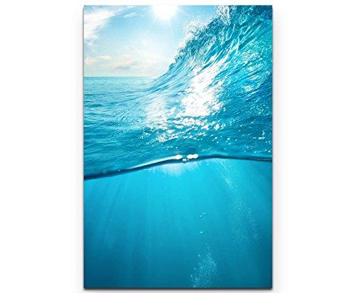Paul Sinus Art Leinwandbilder   Bilder Leinwand 90x60cm Welle im Ozean Unterwasser