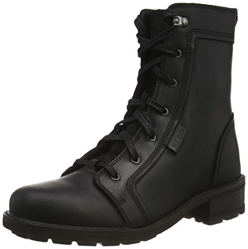 KEEN Women's Oregon City Mid Height Leather Casual Combat Boot, Black/Black, 10