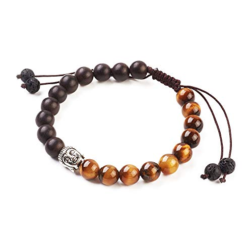 Armband Buddhistische Perle – EIN Armband aus natürlichen Perlen mit Buddha-Kopf und Chakra-Schutzstein – verstellbar – Lavastein und Tigerauge