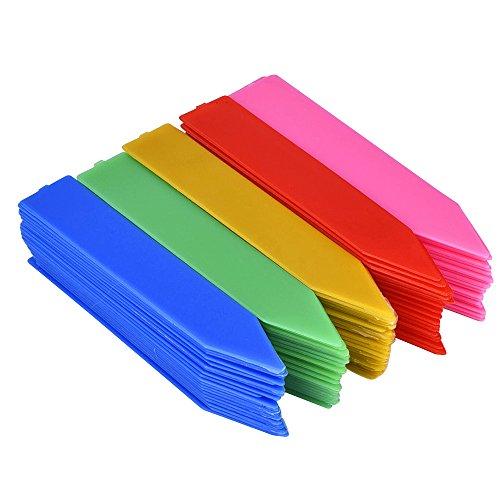 eBoot 100 Stück 100 mm Kunststoff Pflanzenetiketten/Pflanzschilder/Pflanzen Etiketten mit Textmarker,Mehrfarbig