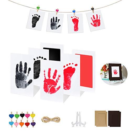Hipeqia Handabdruck und Fußabdruckset Baby, Clean Touch Stempelkissen Handabdruckset, Baby Skin Berührt Die Farbe Nicht, Stempel Inkless, Baby Andenken oder Duschgeschenk für Neugeborene (Schwarz+Rot)