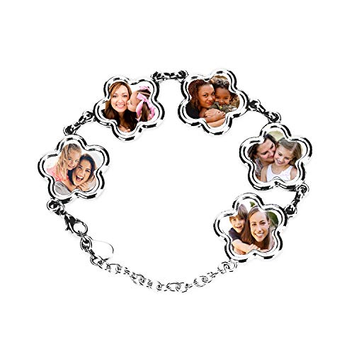 Personalised Bracelet with Picture 5 photo charm bracelet, Personalized Mother's Day Gift Jewelry Gift Customized with Picture/Text (Flower)