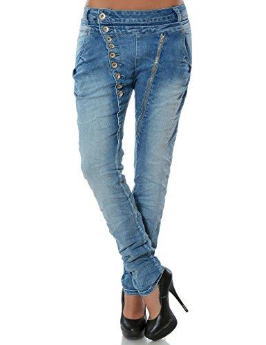 Daleus Damen Boyfriend Jeans Hose Reißverschluss Knopfleiste Stretch DA 14145 Farbe Hellblau Größe M / 38