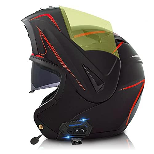 ZPTTBD Casco de Moto Modular Bluetooth Integrado con Micrófono Incorporado Anti Niebla Doble Visera ECE/Dot Homologado Cascos Moto Adultos Hombres Mujeres (Color : H, Size : (M=57-58CM))
