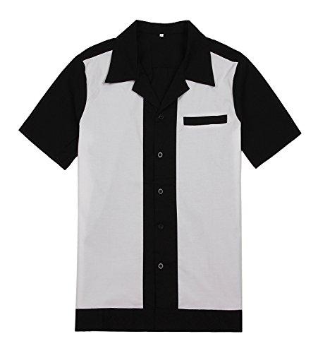 Candow Look vintage retro black&white stitching rockabilly pinup men shirt