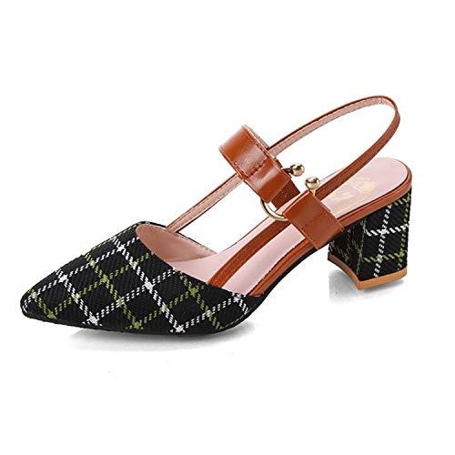 ZJMM Sandalias Negras De Tacón Grueso Salvaje para Mujer Zapatos De Celosía para Niños Talla Grande 42 Tacones Altos Sandalias Puntiagudas para Mujer