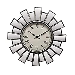 IMPORTED GIFT DEPOT Silver and Mirror Sunburst Clock with Roman Numerals
