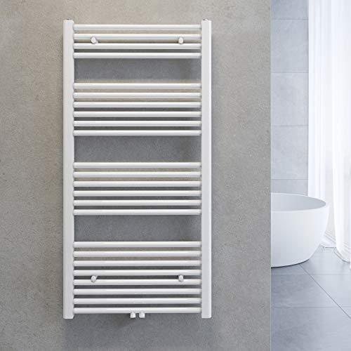 SONNI Handtuchheizkörper Bad Mittelanschluss Handtuchwärmer Badheizkörper Weiß Gerade 60*120cm