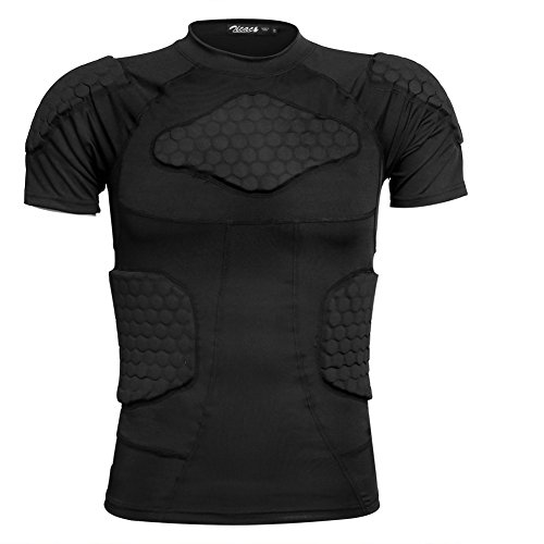 Zicac Sports Gepolsterte Kompression Tops Kurzarm Shock Guard Schutzhemd Schulter Rippe Brustschutz für Outdoor Fußball Basketball Paintball Rugby (Schwarz, EU-XL)