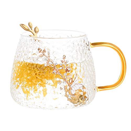 COAWG Glas Teetasse mit Löffel, Lead-Free Handgemacht Glas Tasse Kaffeebecher 3D Blumen Becher Kaffee Saft, Bier Warme und kalte Getränke für Frauen Oma Graduation Mädchen Geburtstag Muttertag