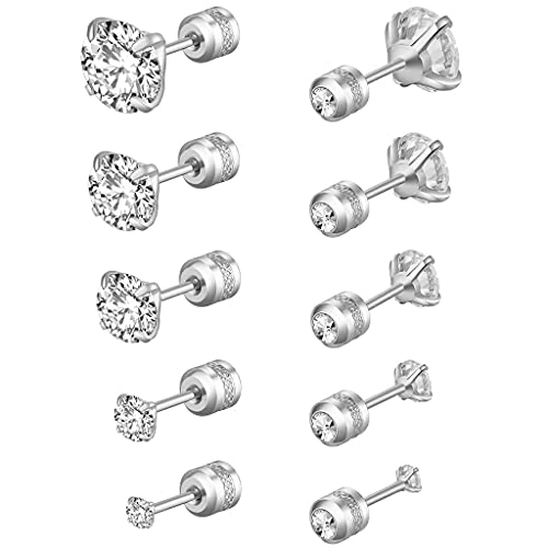 MYhose Zircon Ear Stud Pendientes de Acero Inoxidable hipoalergénicos Juego de aretes Redondos de circonita cúbica CZ, para Mujeres Hombres 2 mm-6 mm Plata