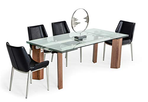 Limari Home Bianca Collection Modern Style 10 Persons Large Extendable Glass Dining Table with Polished Stainless Steel Frame and Solid Wood Legs with Walnut Veneer, Brown