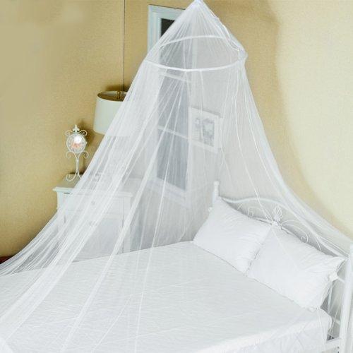 Moustiquaire, CONMING Grand lit de moustiquaire Canopy Home Protection contre les insectes Pas d'irritation de la peau avec kit de suspension complet idéal pour les vacances à la maison extérieure de vacances (Blanc)