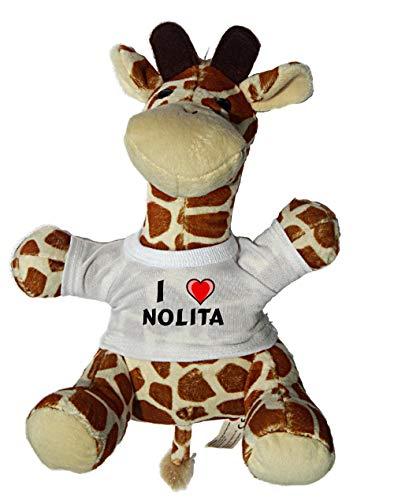 SHOPZEUS Giraffe Plüschtier mit einem T-Shirt mit Aufschrift Ich Liebe Nolita (Vorname/Zuname/Spitzname)