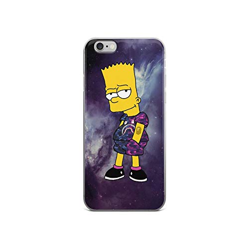 Horseshoe's Compatible with iPhone 6/6s Case Cool Boy Bart Simpson Galaxy Pure Clear Phone Cases Cover