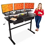 Stand Steady Tranzendesk 55 Inch Standing Desk with Clamp On Shelf & 2 Under Desk Drawers | Crank Height Adjustable Stand Up Workstation with Attachable Monitor Riser & Extra Storage (55 in/Black)