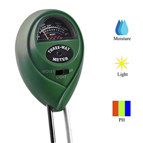 Miaoo Soil Tester, 3-in-1 Plant Moisture Meter Light and PH...