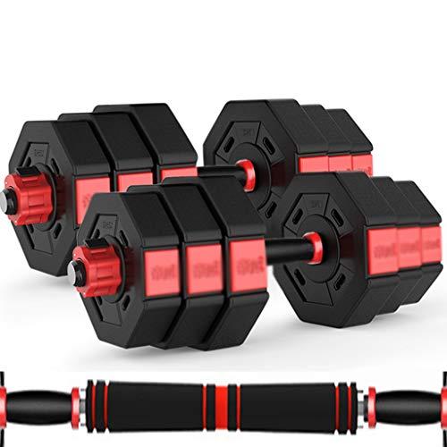 YUESFZ Hanteln Dumbbell Abnehmbare Achteckige Stille Hantel Indoor-Sportgeräte Für Herren Langhantel Für Den Hausgebrauch 10 Kg / 15 Kg / 20 Kg / 30 Kg / 40 Kg (Color : Black+Red, Size : 20KG*2)