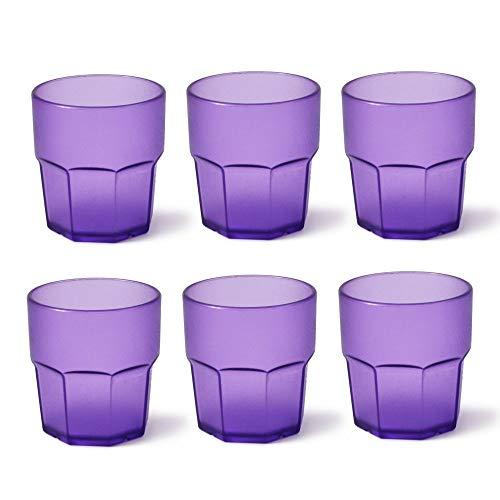 Omada Design Set di 6 Bicchieri in Plastica, 30 cl, Ideali per Bibite o Long Drink, Lavabili in Lavastoviglie, Made in Italy, Impilabili, Linea Unglassy, Colore Viola