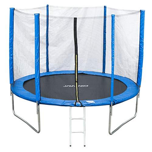 JAWINIO Trampolin 305cm Gartentrampolin Trampolin Kinder Komplett-Set Leiter Sprungtuch Randabdeckung Blau