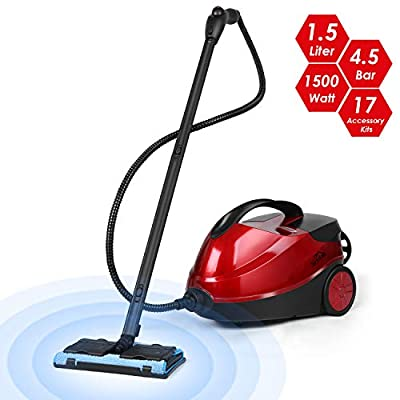 SIMBR Steam Cleaner, Multifunctional Steam Mop 1.5L Chemical-Free Household Cleaner Machine with Rolling Wheel and 17 Accessory Kits for Floors, Windows, Carpet, Grout, 1500W