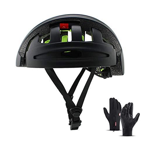 HVW Casco de Bicicleta, Plegable portátil Adulto Bicicleta de montaña Casco ABS Shell Safety Sports Unisex Off-Road Casco de Bicicleta Unisex Tamaño Ajustable 22-24 en,Negro
