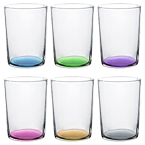 Set di 6 bicchieri da acqua, colori pastello, bicchieri in vetro multicolore e trasparenti, adatti per lavastoviglie