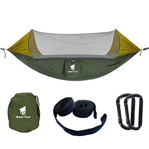 GEERTOP Ultraleichte Camping Hängematte Moskitonetz, Moskito Netz Atmungsaktive leichte Pop-Up Tragbare Fallschirm Hängematten für Outdoor Backpacking oder einen Innengarten,Camping(Armeegrün)