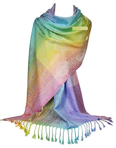 GFM - Sciarpa in stile pashmina, color arcobaleno, setosa al tatto, con motivo cachemire o floreale ..Pais-39-18-osfd-1 Paisley 90