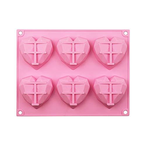 MOTZU 6 Cavity Mini Heart Mold, Diamond Geometric Chocolate Silicone Dessert Mould, Baking Mousse Cake Trays Cupcake Pan Mold for Decorating, Cheesecake, Ice Cream, Candy, Fondant, Cupcake, Toppers