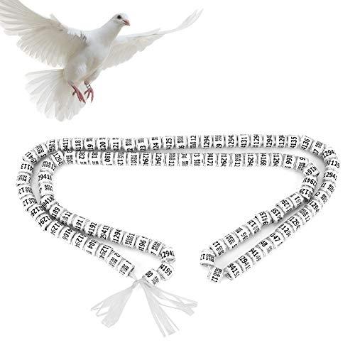 Pssopp 100 STÜCKE Tauben Fuß Ring 8mm Vogel Fuß Clip Ring Identifizierung Ring Geflügel Bein Bänder für Papageien Huhn Zwerghuhn Wachtel Kleine Geflügel mit Nummer
