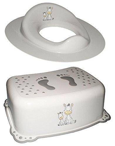 2 TLG. Set: Toilettensitz / Toilettenaufsatz / Sitzverkleinerer & Anti RUTSCH - Trittschemel / Tritthocker / Kindersitz -  Zebra - weiß  - Kinderschemel & K..