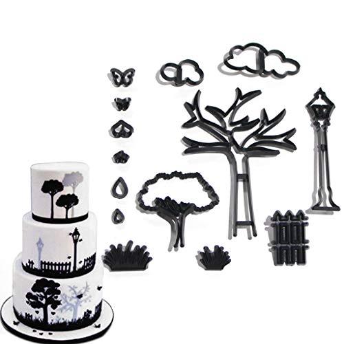 GUMEI 14 unids/Set Cortador de Galletas temático de Parque Planta de plástico árbol Hierba lámpara de Calle Cortador de Fondant Herramientas de decoración de Pasteles Molde para Hornear Cupcakes
